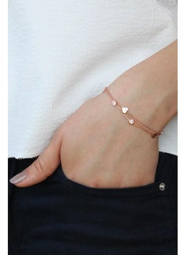 Argentum Concept Zirkon Taşlı Gümüş Kalpli Çok Zincirli Bileklik Pembe